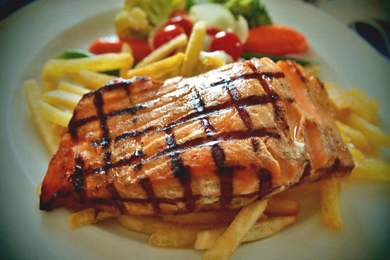 salmon steak at Jatra hotel (by rchia712)