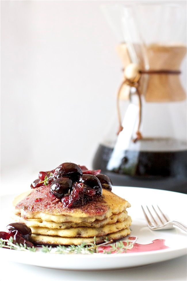 Cornmeal Cakes with Cherry Compote