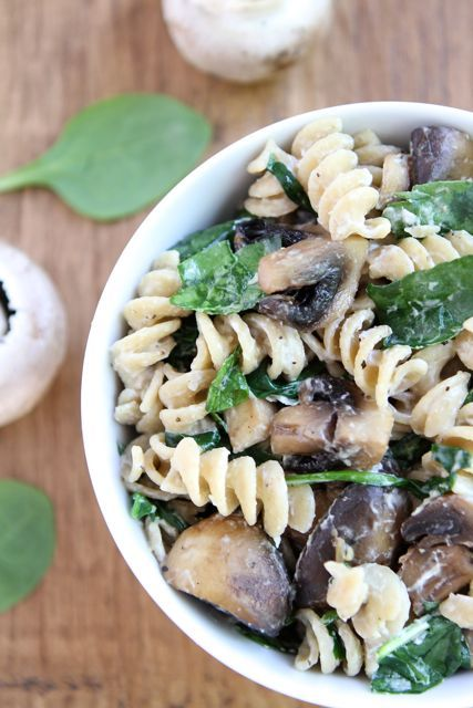 Goat Cheese Pasta with Spinach and Roasted Mushrooms
