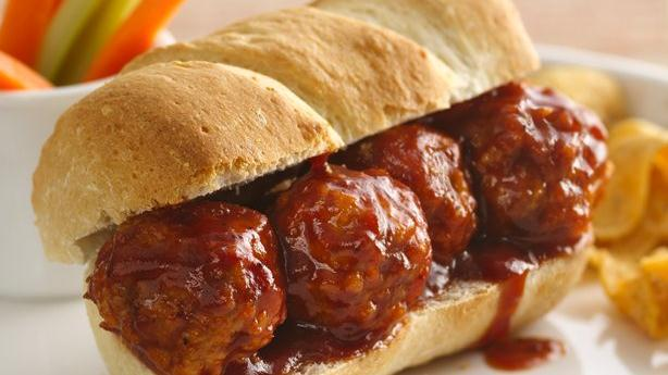 3-Ingredient BBQ Meatball Hoagies