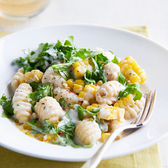 Gnocchi, Sweet Corn, and Arugula in Cream Sauce