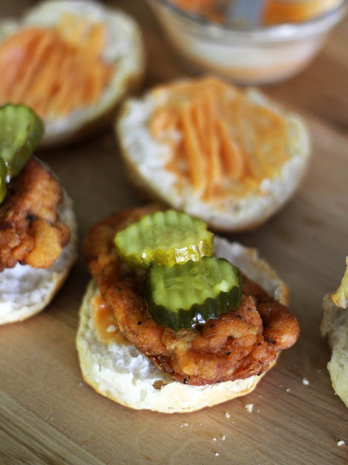 Fried Chicken Biscuit Sandwiches with Sriracha Honey Butter