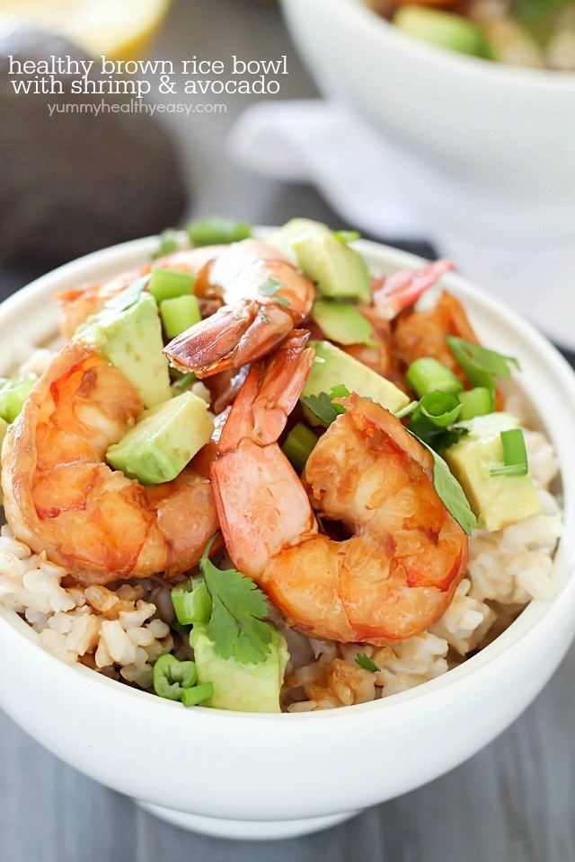 Healthy Brown Rice Bowl with Shrimp and Avocado