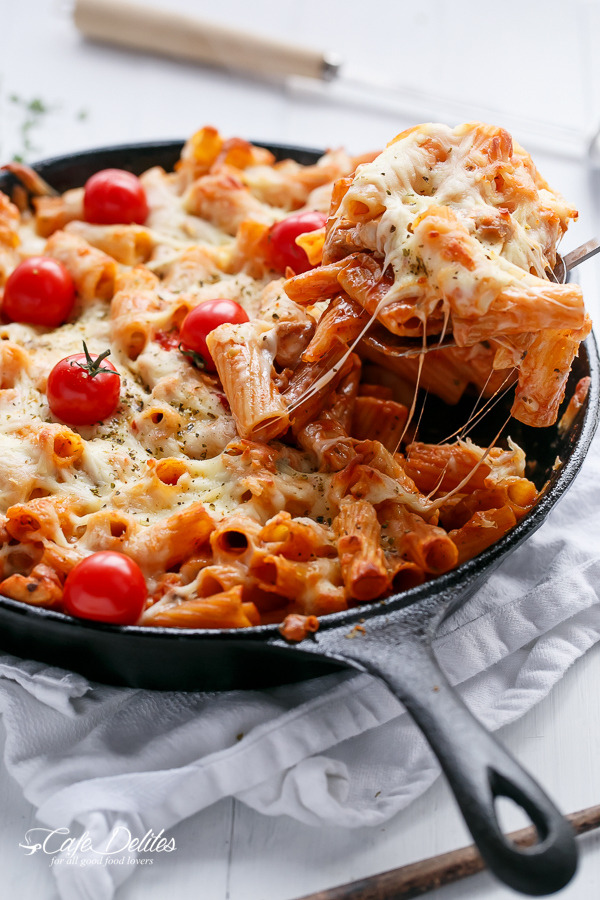 Chicken and Tomato Mozzarella Pasta Bake