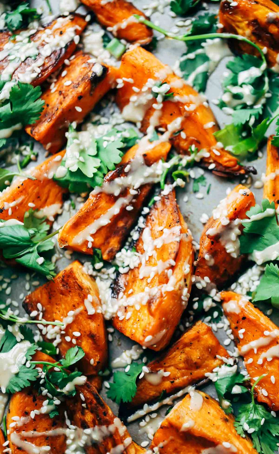 30 minute sesame roasted sweet potatoes