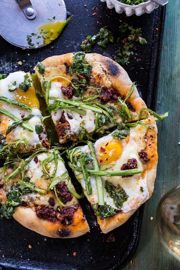 Springtime Pizza with Chipotle Romesco, Eggs, and Shaved Asparagus Salad