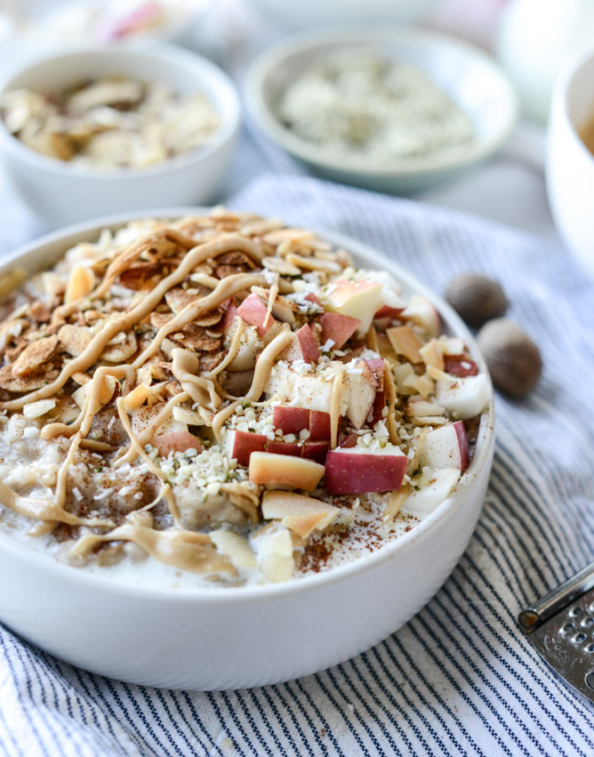 Slow Cooker Apple Cinnamon Steel Cut Oatmeal with Whipped Maple Cream